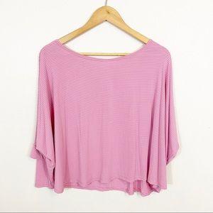 3/$30 Beyond Yoga Pink Striped Dolman Sleeve Top